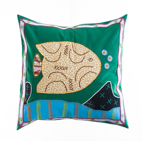 Pescado Design Embroidered Pillow on Green