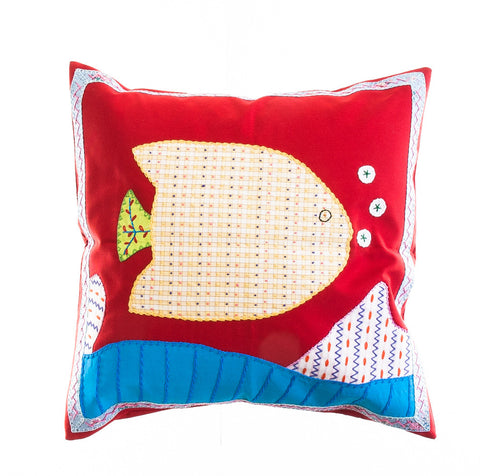 Pescado Design Embroidered Pillow on Red
