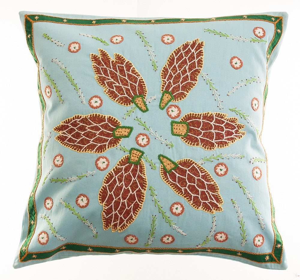 Uvas Design Embroidered Pillow on Aqua