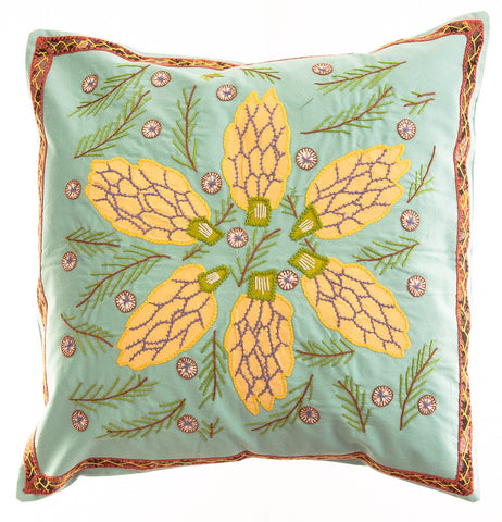 Uvas Design Embroidered Pillow on Green