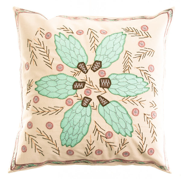 Uvas Design Embroidered Pillow on Beige