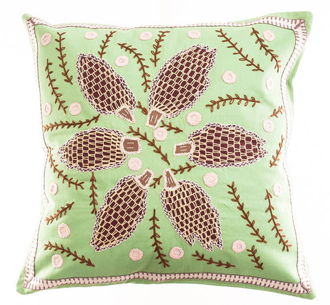 Uvas Design Embroidered Pillow on Apple Green