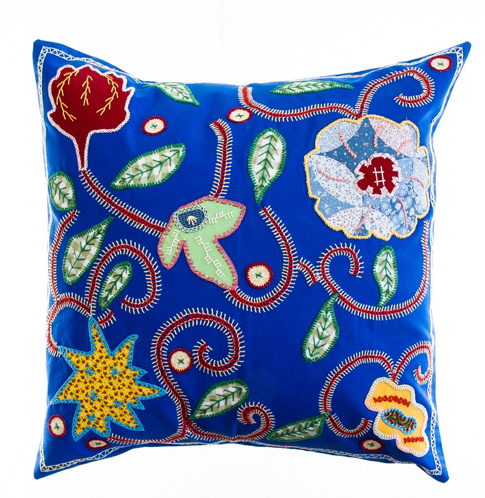 Rosas Design Embroidered Pillow on Blue