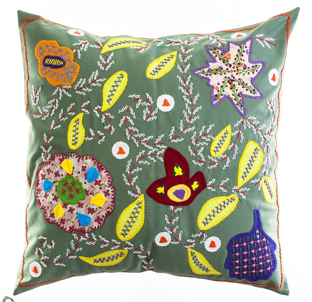 Rosas Design Embroidered Pillow on Sage