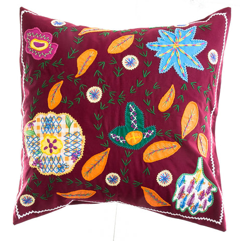 Rosas Design Embroidered Pillow on Dark red