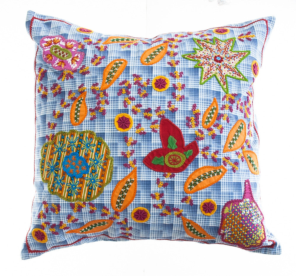 Rosas Design Embroidered Pillow on Blue print