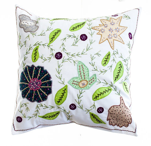 Rosas Design Embroidered Pillow on White