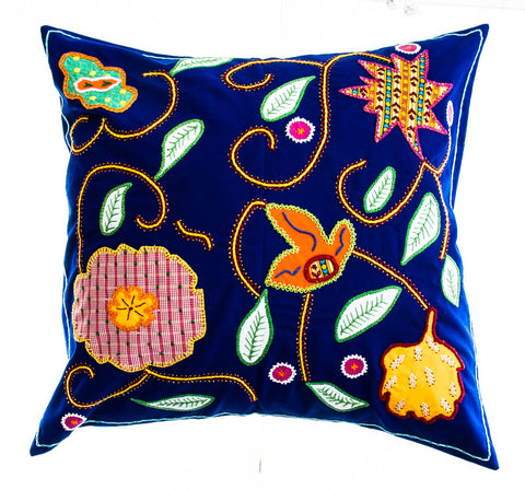 Rosas Design Embroidered Pillow on Dark Blue