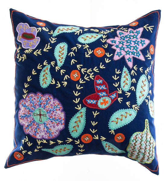Rosas Design Embroidered Pillow on Navy