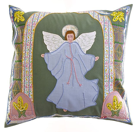 Angel Design Embroidered Pillow on Sage