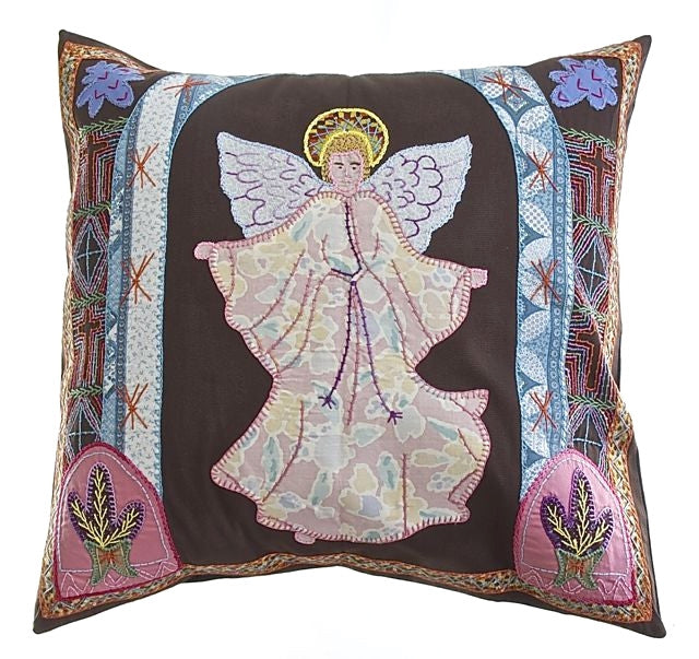 Angel Design Embroidered Pillow on Brown