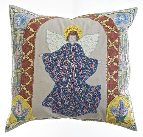 Angel Design Embroidered Pillow on Khaki