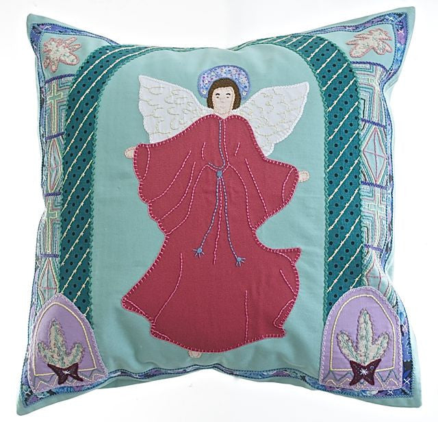 Angel Design Embroidered Pillow on Light green