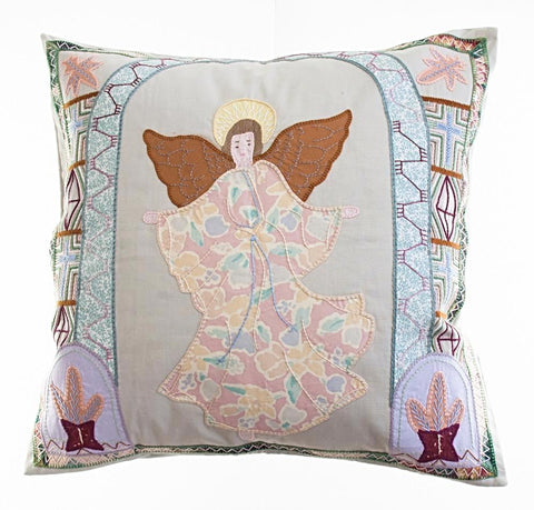 Angel Design Embroidered Pillow on Stone