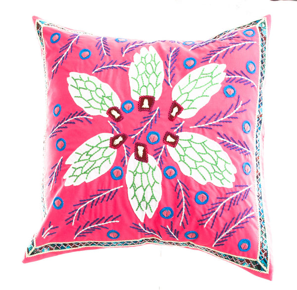 Uvas Design Embroidered Pillow on Dark pink