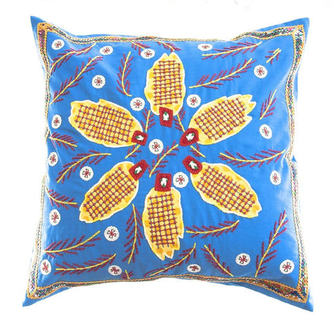 Uvas Design Embroidered Pillow on Blue