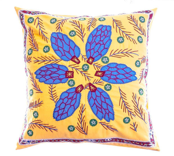 Uvas Design Embroidered Pillow on Yellow