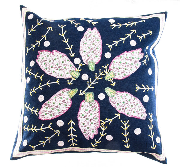 Uvas Design Embroidered Pillow on Navy Denim