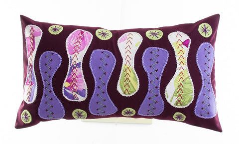 Zipper Design Embroidered Pillow on maroon