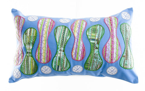 Zipper Design Embroidered Pillow on blue