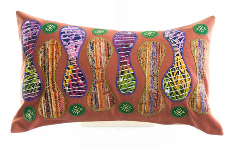Zipper Design Embroidered Pillow on Dark Salmon