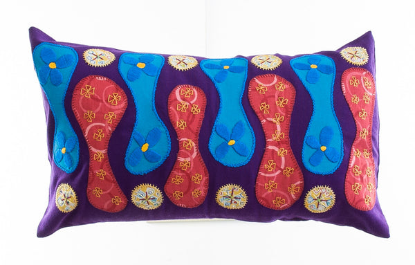 Zipper Design Embroidered Pillow on purple