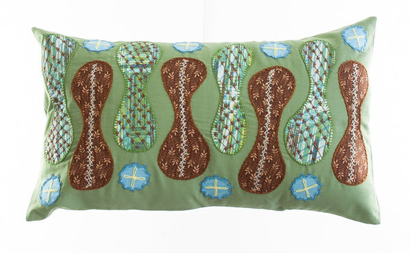 Zipper Design Embroidered Pillow on light green
