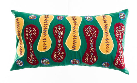 Zipper Design Embroidered Pillow on green