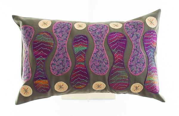 Zipper Design Embroidered Pillow on olive