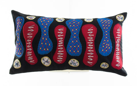 Zipper Design Embroidered Pillow on black