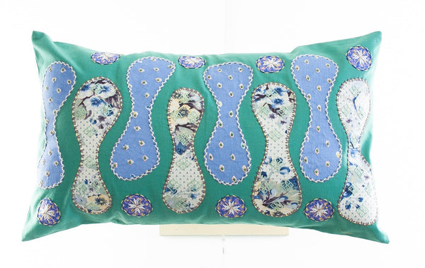 Zipper Design Embroidered Pillow on teal
