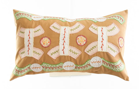 Arcos Design Embroidered Pillow on Caramel