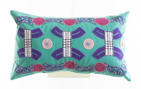 Arcos Design Embroidered Pillow on Teal