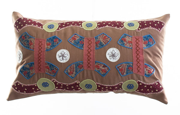 Arcos Design Embroidered Pillow on Cocoa