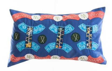 Arcos Design Embroidered Pillow on Blue