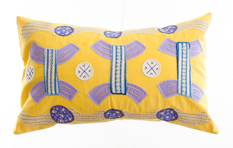 Arcos Design Embroidered Pillow on Yellow