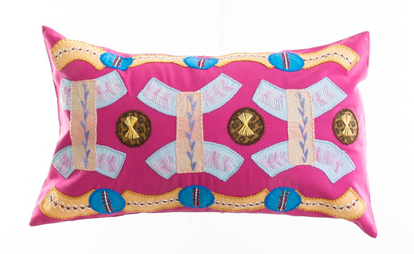 Arcos Design Embroidered Pillow on Dark Pink