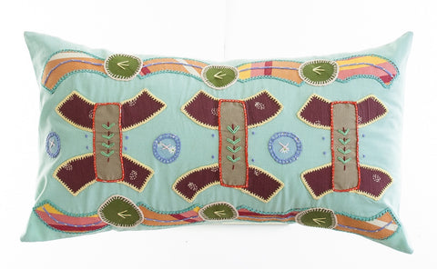 Arcos Design Embroidered Pillow on Aqua
