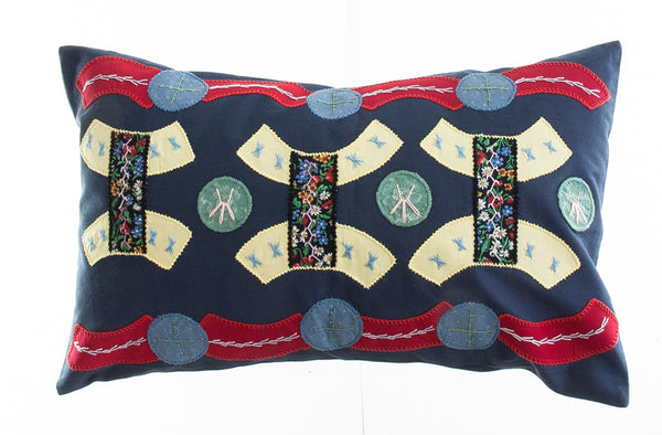 Arcos Design Embroidered Pillow on Navy