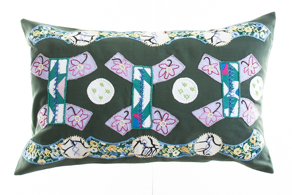 Arcos Design Embroidered Pillow on Green