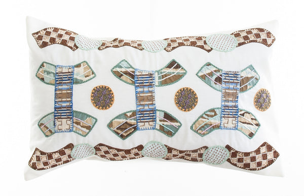 Arcos Design Embroidered Pillow on White