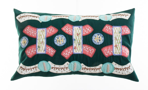 Arcos Design Embroidered Pillow on Dark Green
