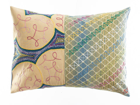 Cuadritos Design Embroidered Pillow on navy