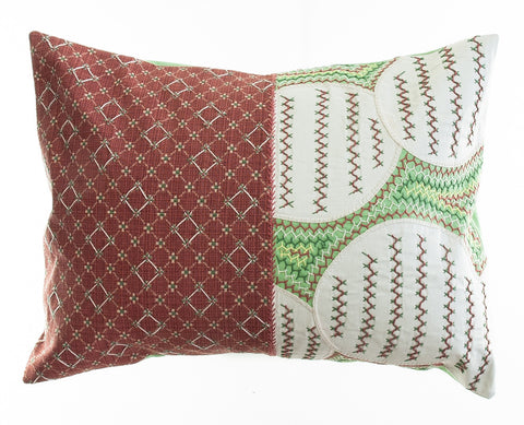 Cuadritos Design Embroidered Pillow on light green