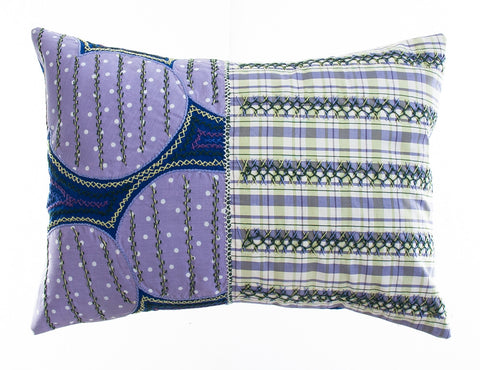 Cuadritos Design Embroidered Pillow on royal blue