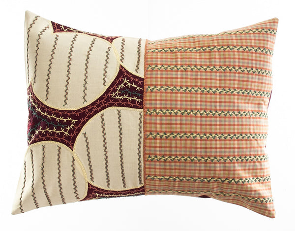 Cuadritos Design Embroidered Pillow on maroon