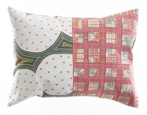 Cuadritos Design Embroidered Pillow on sage