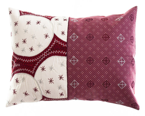 Cuadritos Design Embroidered Pillow on marsala