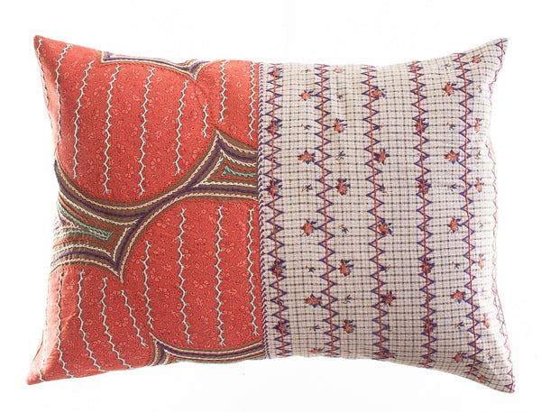 Cuadritos Design Embroidered Pillow on cocoa