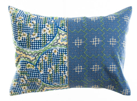 Cuadritos Design Embroidered Pillow on white
